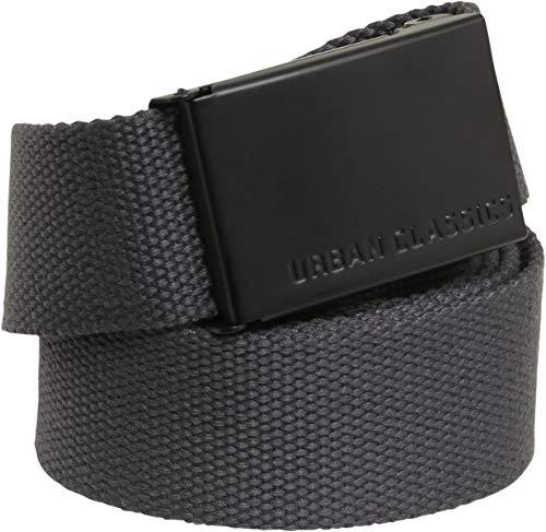 Urban Classics Canvas Belt Cintura con Fibbia Scorrevole in Metallo, Regolabile, 100% Poliestere, Lunghezza 118 cm, Taglia Unica, Grigio/Nero (Charcoal/Nero)