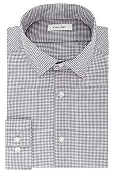 Calvin Klein Men s Dress Shirt Slim Fit Non Iron Gingham Grey 15.5  Neck 32 -33  Sleeve  Medium