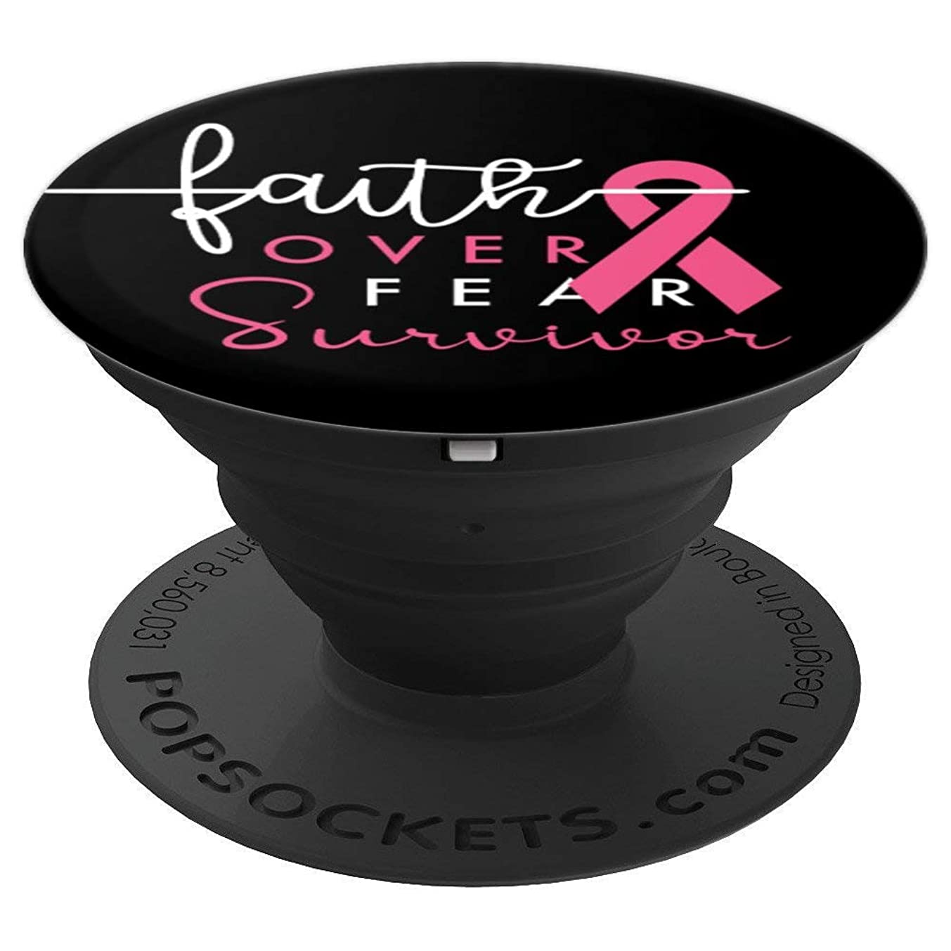 Faith Over Fear Survivor Breast Cancer Awareness Pink Ribbon - PopSockets Grip and Stand for Phones and Tablets