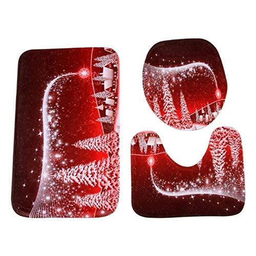 KEAINIDENI Wc-mat Kerstmis Drie Boom 3 Stuks Set Badkamer Voordeur Driedelig Anti-Slip Mat Toilet Mat Bad Mat voor Home Decor Rood