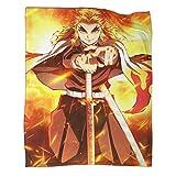 Manta ultra suave y cálida para CampingAnime Demon Slayer Poster Rengoku Kyoujurou Camping Supervivencia y Primeros Auxilios Manta 40 x 50 pulgadas (100 x 130 cm)