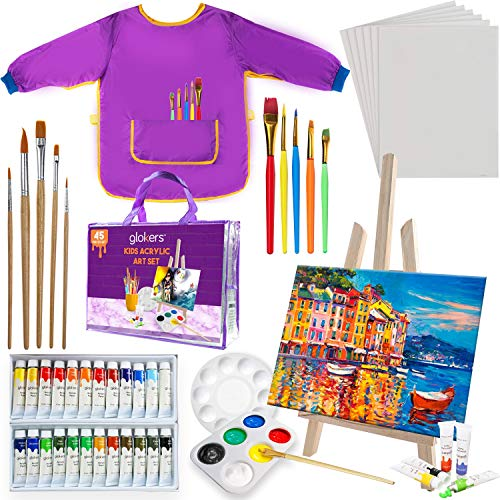 glokers Kids Painting Supplies Set - Arts Set with Acrylic Paints, Easel, Paintbrushes, Canvases, Palettes, Smock & Travel Storage Bag - Premium Children's Arts & Crafts Supplies