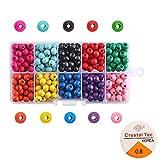 FOGAWA 380-400Pcs Cuentas de Madera Redondas Colores Kit Abalorios Madera Perlas de Madera Cuentas para Pulseras Bolas Madera Manualidades para Collares Joyas con Caja y Cuerdas 7 x 6mm 10 Colores