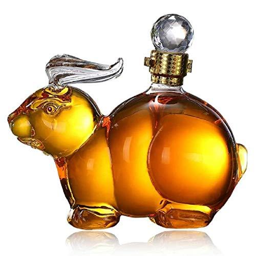 XYLUCKY Kaninchenform Whisky Dekanter Mit Stopper Hohe Borosilikatglas - Tierform Kreative Glasflasche Transparente Handwerksdekoration Für Büro, Schlafzimmer,1000ML