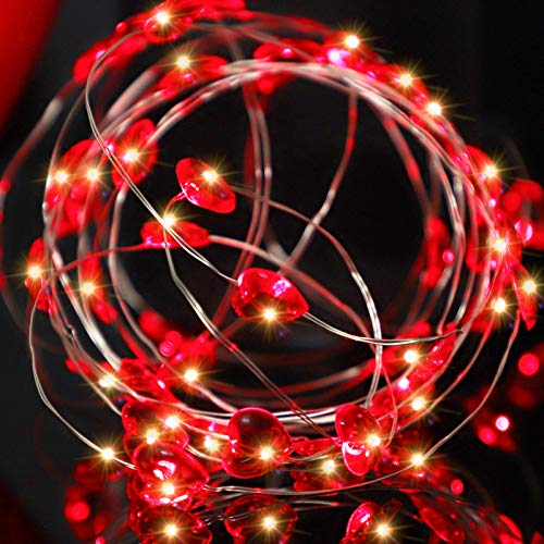 Annefly Red Heart Shaped Fairy String Lights Battery Powered with Flash 13FT 40 LEDs Valentine Day Love Heart Twinkle String Lights for Wedding Anniversary Mother's Day Party Decoration
