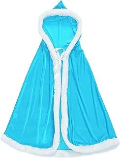 Dasior Girls Christmas Party Mrs. Claus Santa Xmas Velvet Hooded Cape Robe with Fur Trim