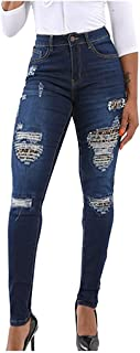 Lazapa Jeans for Women, Fashion Leopard Splice Mid Rise Zipper Tights Ripped Destroyed Denim Pants Elastic Soft Trousers