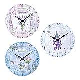By SIGRIS Reloj Pared Lavanda 34Cm 3 Diferentes Incluye 3 Unidades Adorno Pared Relojes Colección Lavanda Y Olivo Signes Grimalt Decor And Go