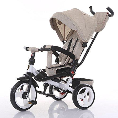 CAIM Babywagen, 4-in-1 verstelbare en 360 graden draaibare kinderzit-trike/driewieler met zonnekap en afneembare schuifregelaar voor uitstekende grip kinderwagen