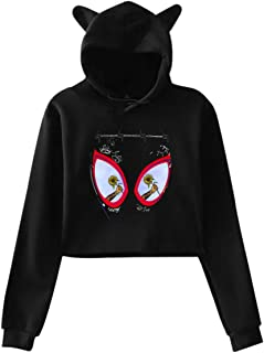 Post Malone Swae Lee Sunflower Spider Hipster Cat Ear Hoodie Sweater Black