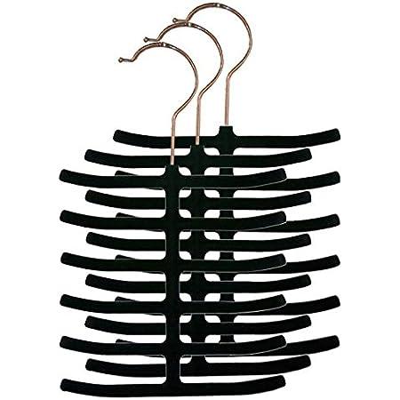 Home Basics 3-Pack Velvet Tie Hanger, Black