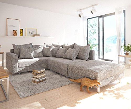 Sofa Clovis erweiterbares Modulsofa Eckcouch Wohnlandschaft (Ecksofa Links mit Hocker + Armlehne, Grau)'
