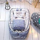 TEALP Babynest Multifunktionales Kuschelnest mit Babydecke, Antiallergisch Nestchen Reisebett für Babys und Säuglinge, 100% Baumwolle, lila Elefant (0-24 Monate)
