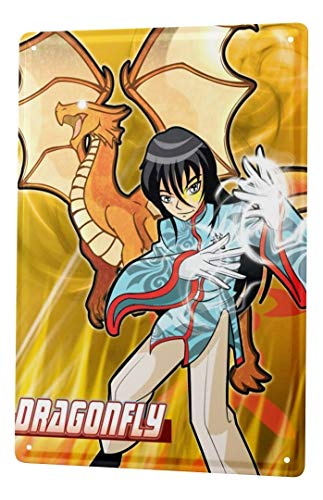 LEotiE SINCE 2004 Plaque en Métal Métallique Poster Mural tin Sign Cartoon Art Amusant Dragon de Manga Libellule Metal Plates 20X30 cm