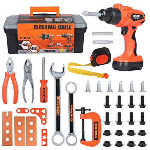 Elitoky Kids Tool Box Set - 35 PCS Durable Pretend Play Tool Toys for Toddler, Kids Electric Power Drill Toys Construction Tool Kit Playset Accessories Gift for Girls Boys Ages 3 4 5 6 7 8 Years Old