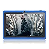 Haehne 7' Tablet PC, Google Android 4.4 Quad Core, 512MB RAM 8GB ROM, Cámaras Duales, WiFi, Bluetooth, para Niños y Adultos, Azul