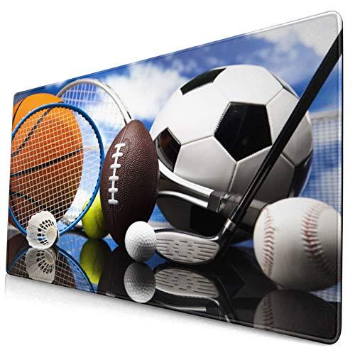 Groß Gaming Mauspad-75 x 40cm,Sportausrüstung Fußball Fußball Darts Eishockey Baseball Basketball Bi,Rutschfeste Gummibasis Tastaturmatte mit Genähten Kanten für Laptop Computer Schreibtischunterlage