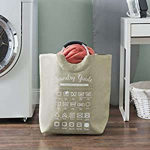 Home Basics Laundry Guide Canvas Hamper Tote with Soft Grip Handles, Collapsible Fabric Bag, Folding Washing Bin, Storage Basket