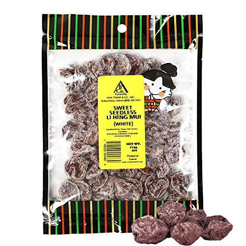Asia Trans Sweet Seedless Li Hing Mui Crack Seed Plums | Hawaiian Favorite | Naturally Sweet Dried Asian Plum Candy (4 oz)