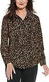 Coolibar UPF 50+ Women's Rhodes Shirt - Sun Protective (Medium- Brown Leopard Print)