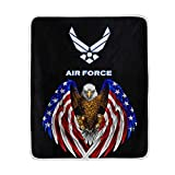 Poeticcity 1PC Blanket, US American Air Force USAF Plush Throws Siesta Camping 50'X60' Travel Fleece Blankets Quilt Carpet Lightweight Soft Bed SOFE Couch