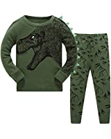 Schmoopy Boys Pajamas Long Sleeve Set with Dinosaur for Toddler and Kid Boys 3T Green
