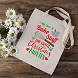 Borsa per la spesa con scritta in lingua inglese'I Just Want to Bake Stuff and Watch', divertente borsa per la spesa natalizia, regalo di Babbo Natale segreto