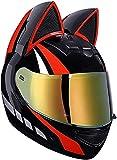 NZGMA Cascos integrales de Motocicleta con Orejas de Gato, Viseras abatibles para Adultos, Casco de Motocross, Casco Modular de Choque de Motocicleta, diseño liviano, Certificado por ECE, Negro,