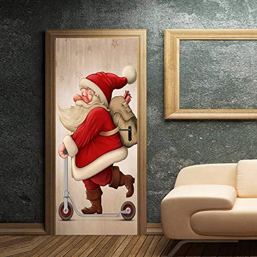 TMANQ Türtapete Selbstklebend Türposter - 77X200Cm Roller Santa - Fototapete Türfolie Poster Tapete 3D Wasserdichtes Abnehmbare Wohnzimmer Wandtattoos Vinyl Wandbild Wohnkultur