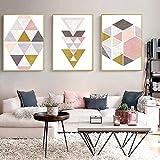 Imagen de póster 3 piezas 30x50cm Sin marco Figuras geométricas rosas abstractas simples bloques de colores pintados a mano modernos sala de estar habitación de los niños decoración personalizada