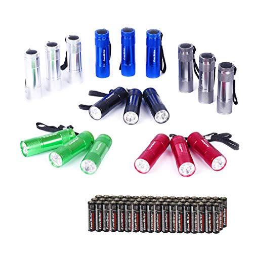 EverBrite 18PCs Mini Linterna Llavero LED, Linternas Portátiles de Aluminio Premium Ligero y Duradero,Mochilero con Correa ,6 colores y 54 Pilas 3AAA