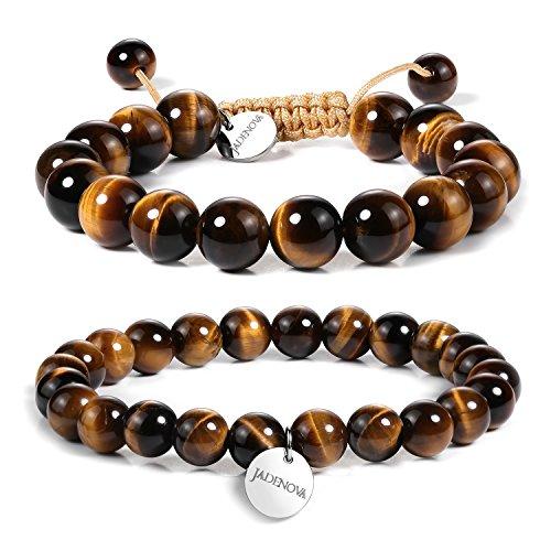 Jadenova 8/10Mm Natural Yellow Tiger Eye Gemstone Bracelet Elastic Stretch Yoga Beaded Bracelet Bangle Healing Crystal Bracelet Couples Gifts For Men Women (2Pcs Bracelet Set)