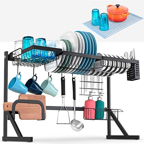 Over The Sink Dish Drying Rack. Large Stainless Steel Dish Drainer for Drying Plates with 5 Utility Hooks. Kitchen Organizer to Free-up Counter. Potholder added - 33 Inches Wide – Black