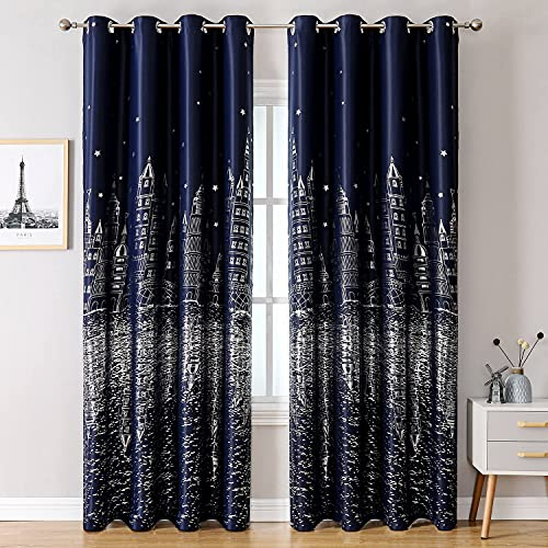Navy Blue Blackout Kids Room Curtains 1 Panel Boys Nursery Room Darkening Thermal Insulated Drapes for Bedroom Living Room Grommet Top Window Treatments Curtains, 40 x 98 Inches Long,Blue,Silver