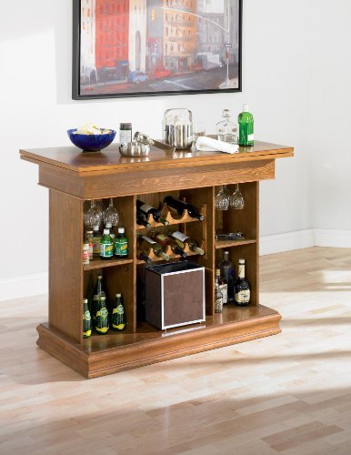 Hot Sale Coaster All in One Game Table/bar Unit with Wine Shelves Oak Finish