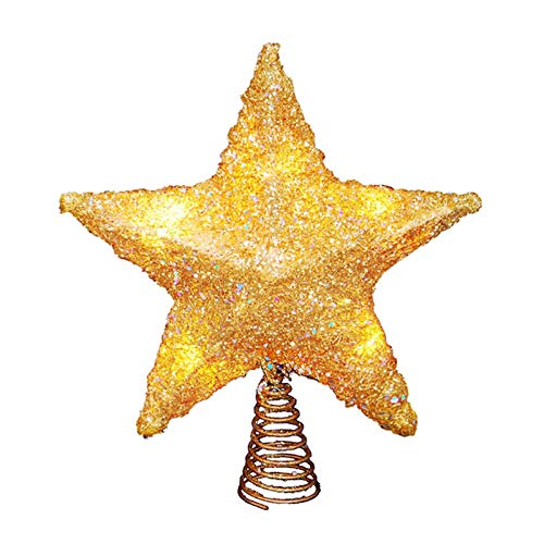 LAWOHO Weihnachtsbaum Topper Star 10 Zoll glitzernden Gold Weihnachtsbaum Ornament Indoor Party Home Decoration Fit für gewöhnliche Größe Weihnachtsbaum