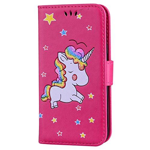Ailisi Cover Samsung Galaxy J3 2016, Unicorno Bling Glitter Flip Cover Custodia Caso Libro Pelle PU e TPU Silicone con Funzione Supporto Chiusura Magnetica Portafoglio - Rosa Caldo