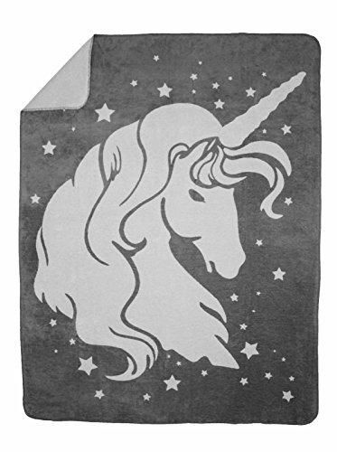 Moon Luxus Kuscheldecke Wolldecke Einhorn 150x200-anthrazit