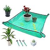 halcyerdu tappetino per rinvaso di piante, set di strumenti bonsai giardinaggio, 9 pezzi mini attrezzi da giardino in miniatura fairy garden tools kit