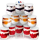 12 tarros de yogur de cristal y 12 tapas herméticas – Productos fabricados en Francia 143 ml/125 gr especialmente diseñado para yogurteras – Robots – Multicocción (Thermomix, SEB, TM5/6, Cookéo, etc)