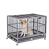 Heavy Duty Dog Crate, Strong Metal Military Pet Kennel Playpen Large Dogs Cage with Lockable Wheels & Two Prevent Escape Lock