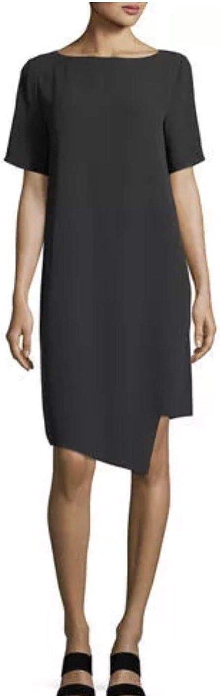 Eileen Fisher Black Silk Georgette Crepe Bateau Neck Dress Size PS MSRP$358