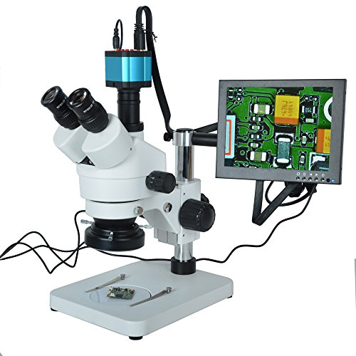 HAYEAR 7X-45X Trinocular Microscope Inspection Zoom Stereo HD 14MP HDMI USB Calibrate Camera+144 LED Ring Light+10 inch HD HDMI LCD Monitor