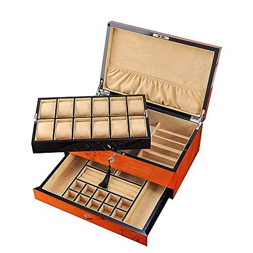 Bella Joyería de madera Caja de almacenamiento Organizador Joyería Caja de almacenamiento Organizador Regalo Multi-capa Caja de almacenamiento Organizador Caja de recolección de gran capacidad Caja de