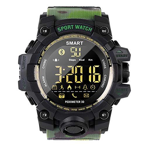 Reloj electrónico deportivo Relojes militares inteligentes con Bluetooth con contador de pasos a prueba de agua Calorías Cronómetro Llamada SMS Recordatorio Correr Nadar Reloj digital,Camouflage green