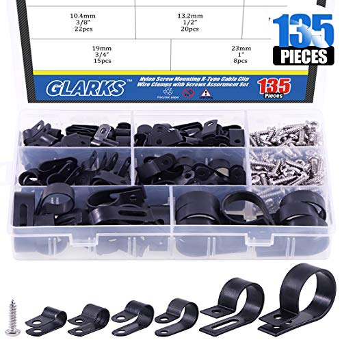 Glarks 135 Stück 6 Größen 1/4-Zoll-2,5 cm (1/4-1 Zoll) schwarze Nylon-Schraubbefestigung R-Typ-Kabelschelle mit 132 Schrauben für Draht, Kabel, Leitungen und Kabelkanal Kit (schwarz)