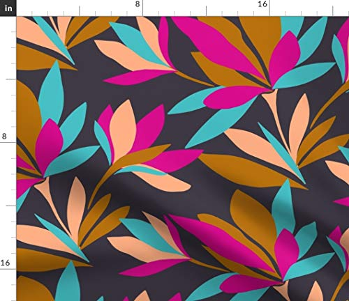 Spoonflower Fabric - Colour Block Floral Flowers Bold Pink Aqua Bright Modern Bird Paradise Printed on Fleece Fabric by The Metre Sewing Blankets Loungewear and No-Sew Projects