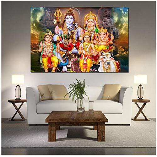 A&D Shiva Parvati Ganesha Indische Kunst Hindu Gott Figur Leinwand Malerei Religiöse Poster Und Druck Wandbild Für Wohnzimmer Decor-60x80 cm Kein Rahmen