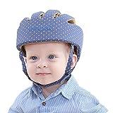 Casco di sicurezza testa nuovo cofano protezione caschetto regolabile cuscino imbracature per bambini infantili Crawling Walking (Punto Blu)