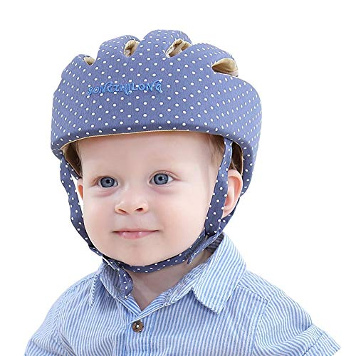 ESUPPORT Baby Adjustable Safety Helmet Headguard Protective Harnesses Hat Providing Safer Environment When Learning to Crawl Walk Play (Dot Blue)